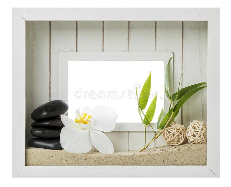 Zen and spa still-life in wooden picture frame isolated with clipping path royalty free stock photos