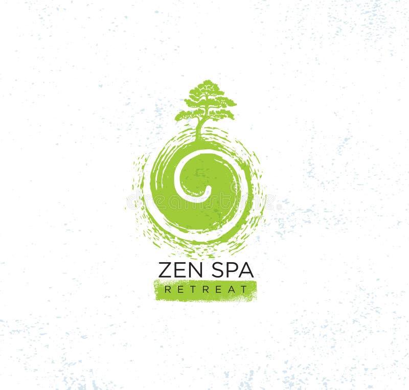 Zen Spa Wellness Holistic Retreat organiskt teckenbegrepp Träd på virvelillustrationen på buse texturerad bakgrund stock illustrationer