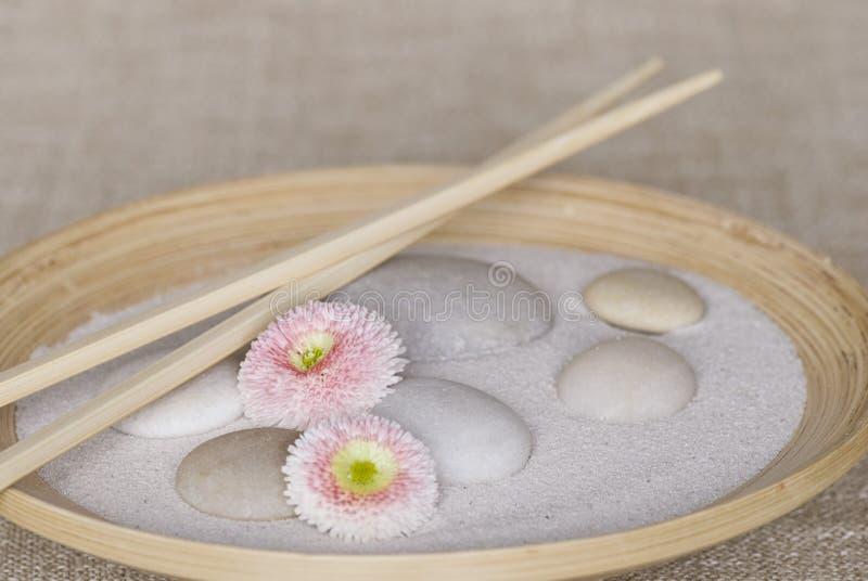 Zen Still Life With Pebble e margarida imagens de stock royalty free