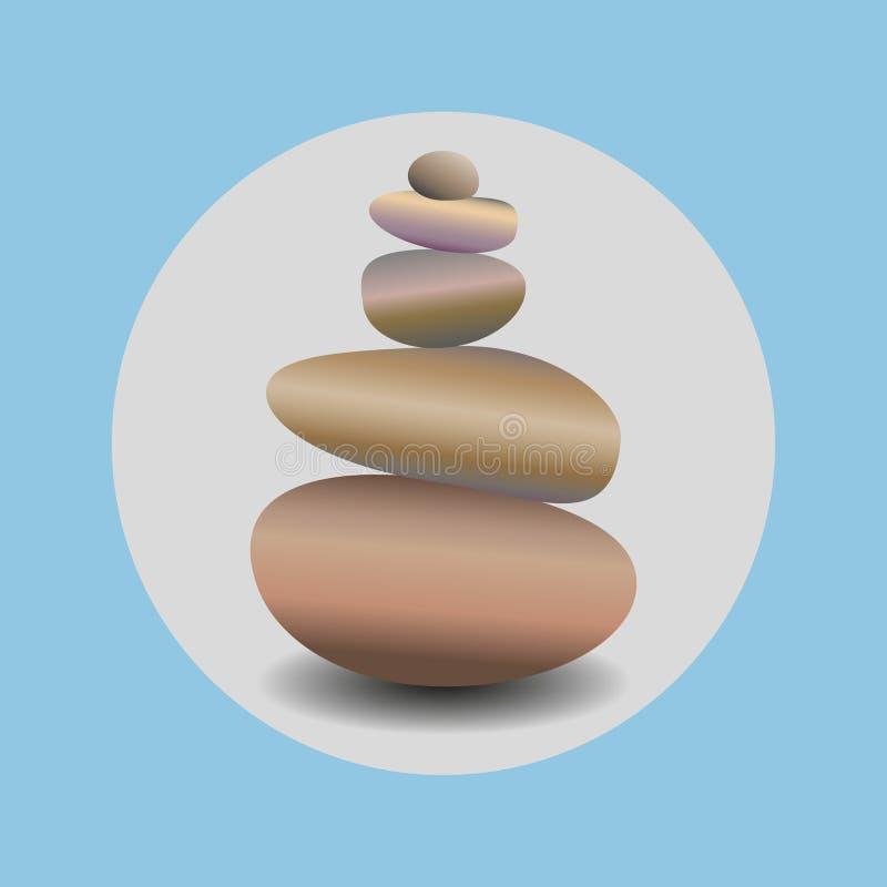 Zen stone balance, realistic image in round blue frame. 3D image of stones. stock illustration