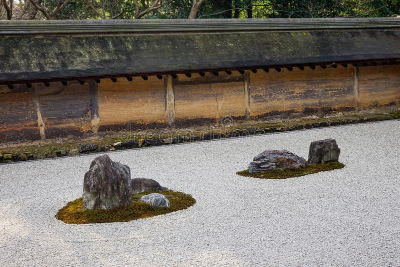 Rock garden in Kyoto, Japan. Zen and stone garden at sunny day in Kyoto, Japan. Harmony and spirituality background royalty free stock photos