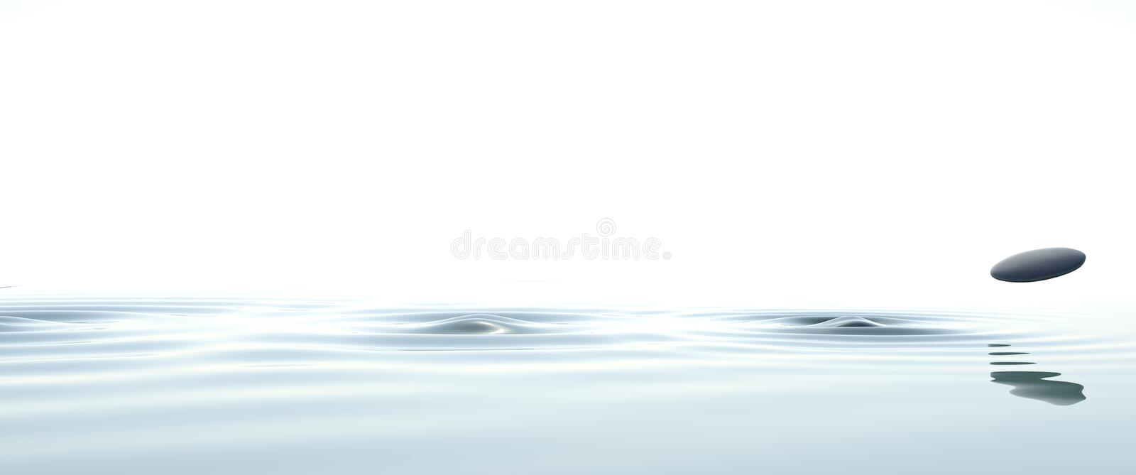 Zen stone thrown on the water widescreen royalty free illustration