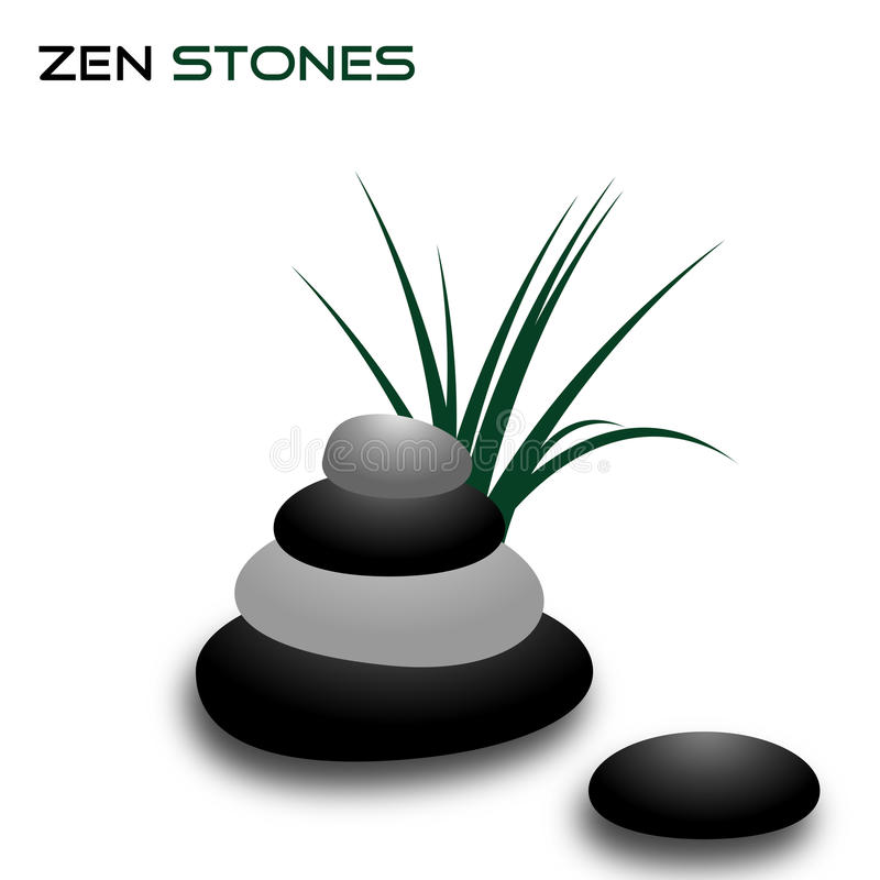 Zen stones. Illustration of a zen background with stones and grass isolated on white background.EPS file available royalty free illustration