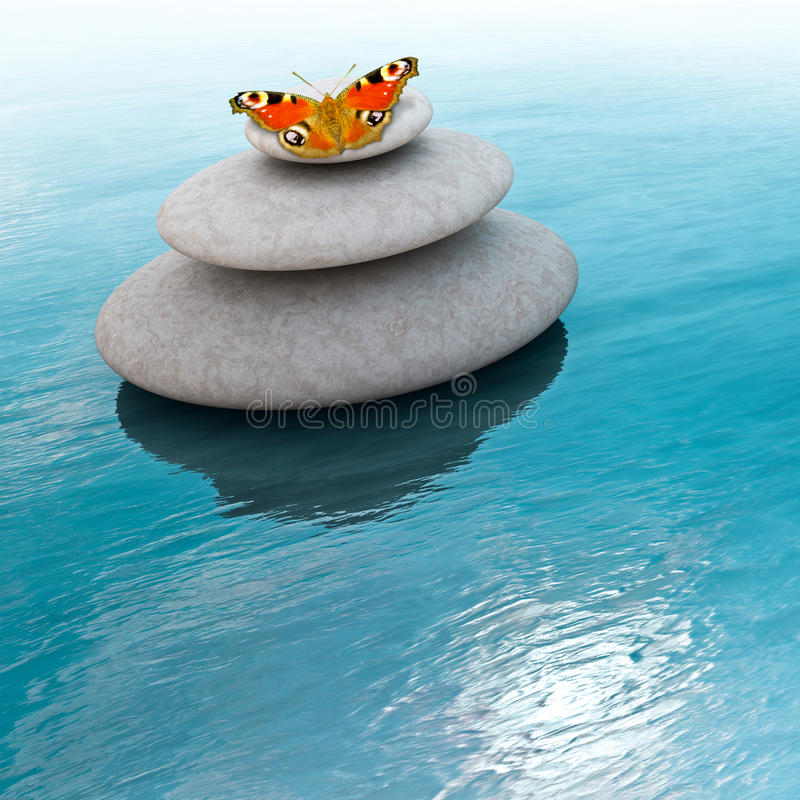 Zen Stones. With butterfly on a sea vector illustration