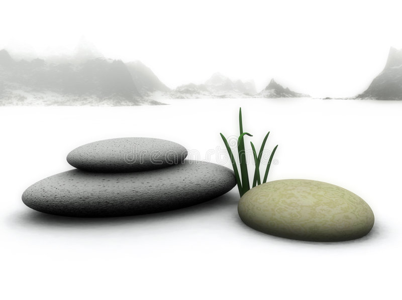 Zen Stones. A beautiful 3D illustration of Zen stones on a snowy landscape royalty free illustration