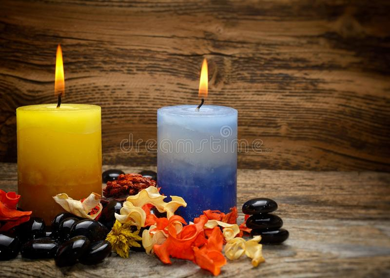 Zen stones and aromatic candles dry flowers stock image