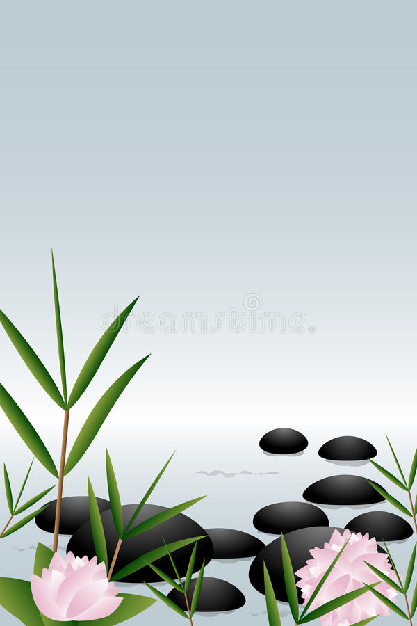 Zen stones background. Illustration of a zen background with stones,flowers and bamboo.EPS file available royalty free illustration