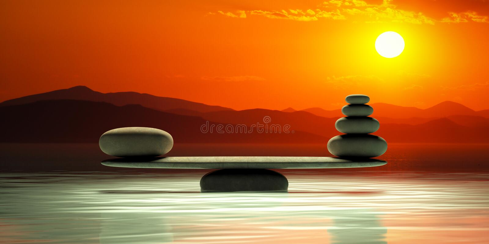 Zen stones scales on sunset background. 3d illustration vector illustration