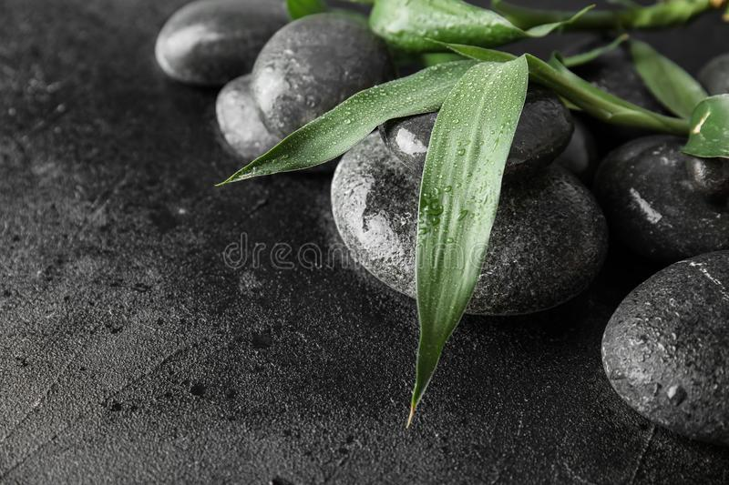 Zen stones and bamboo leaves on black, closeup. Space for text. Zen stones and bamboo leaves on black background, closeup. Space for text stock images