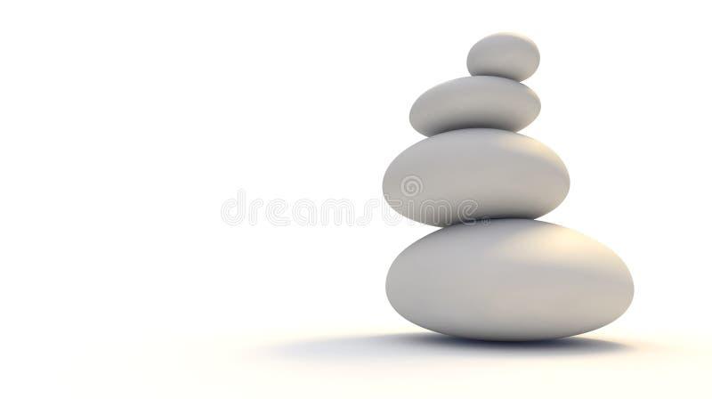 Zen Stones blanco ilustración del vector