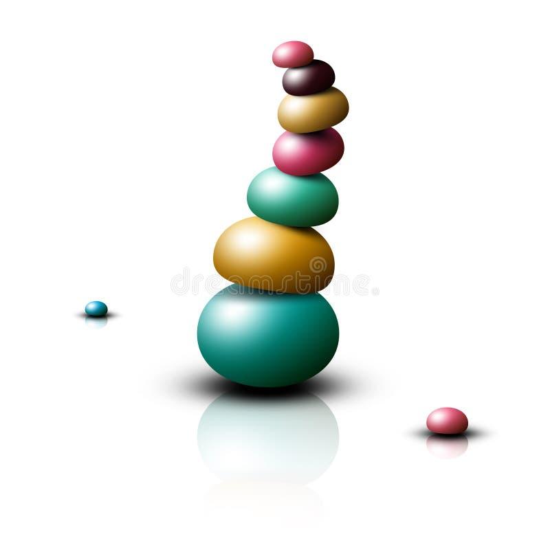 Zen Stones Heap Les cailloux empilent d'isolement illustration stock