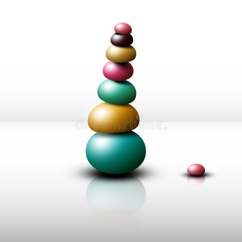 Zen Stones Heap. Vector Pebbles Pile. Isolated stock illustration