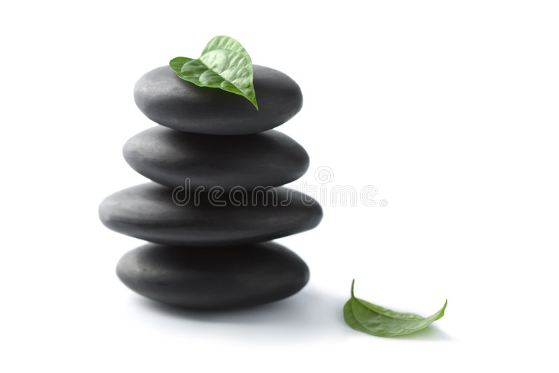 Zen stones with leaves isolated. spa background stock photography