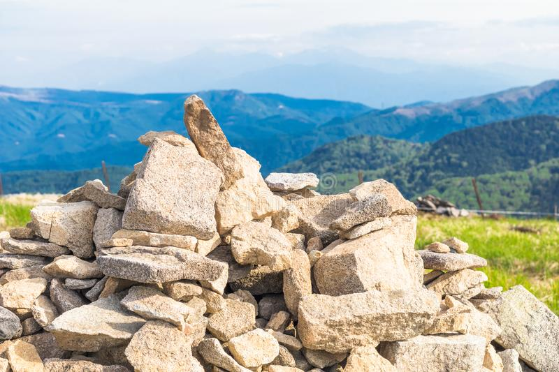 Zen stones on rock and the blue sky background at Utsukushigahara is one of the most important and popular natural place in stock image