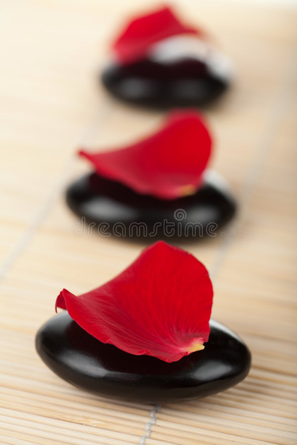 Zen stones and rose petals