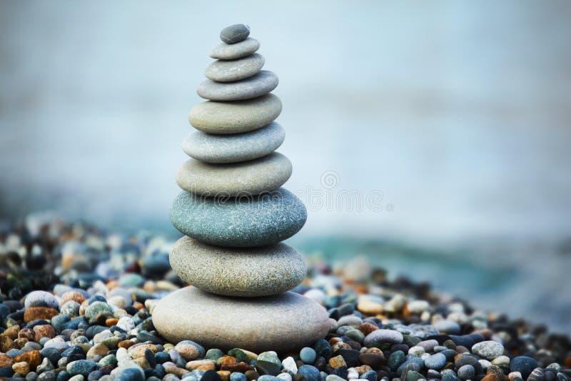 Zen stones by sea stock images