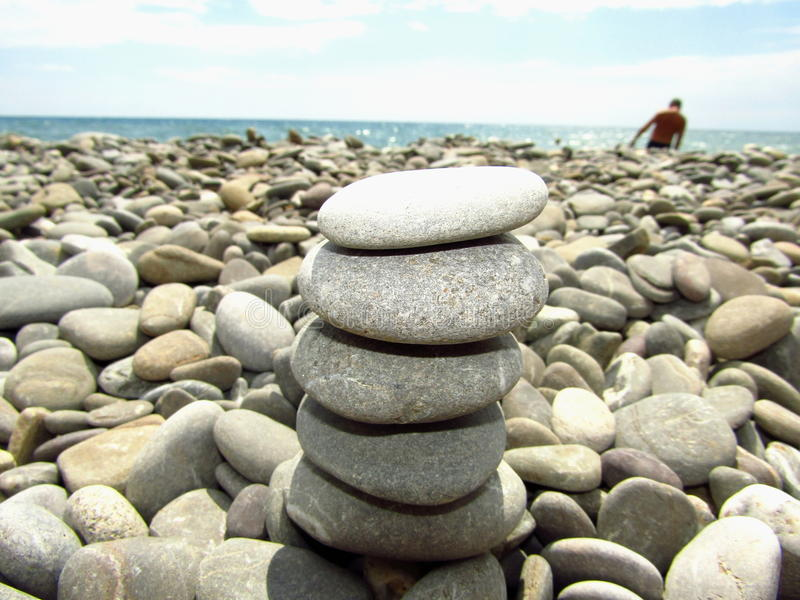 Zen stones on the seashore stock photos