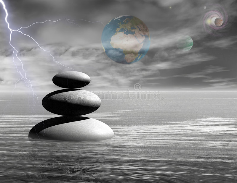 Zen stones with universe. Graphically rendered illustration vector illustration