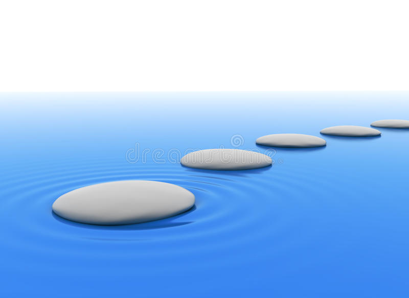 Zen stones in water. With white background vector illustration