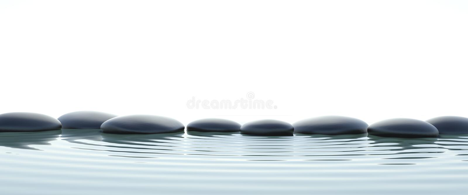 Zen stones in water on widescreen vector illustration