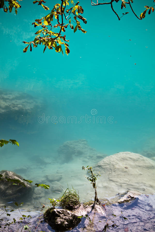 Zen stunning colorful landscape with turquoise river soca as background royalty free stock image