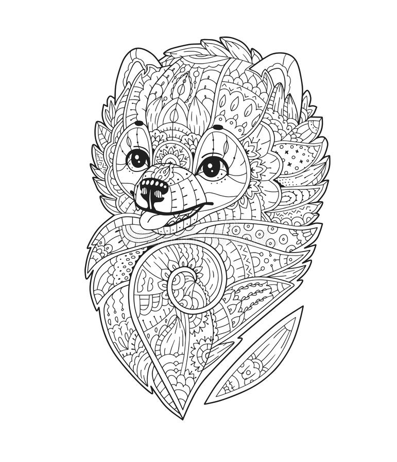 Zen sztuka stylizujący pies w wektorze royalty ilustracja