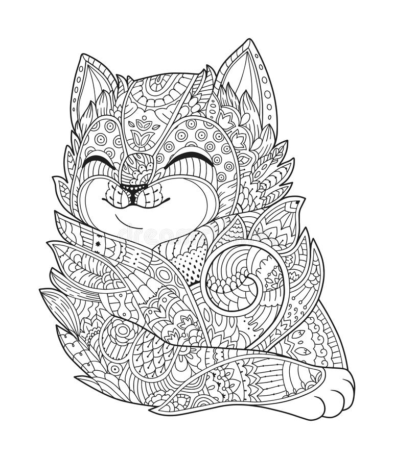 Zen sztuki kot Pociągany ręcznie puszysty kota portret w zentangle stylu dla dorosłej kolorystyki strony Zen doodle ilustracji