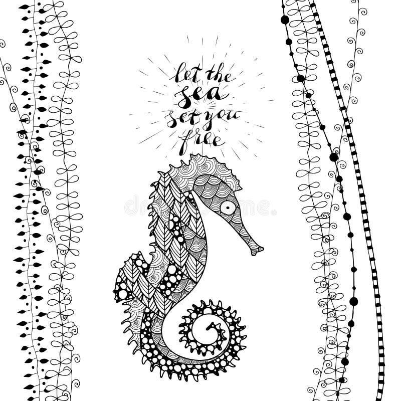 Zen sztuki stylu denny koń z ręcznie pisany literowaniem pozwalał morze ustawiać ciebie swobodnie royalty ilustracja