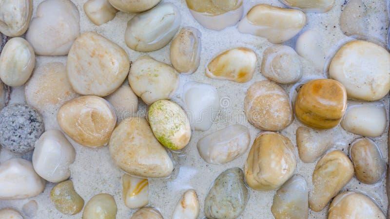 Zen tło, kamień przy morzem, otoczaki w płytkiej wodzie Pokojowy jaskrawy natury pojęcie zdjęcia stock