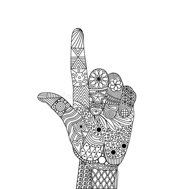 Zen Tangle des Gesten-Zeigefingers des oben und Daumens stock abbildung