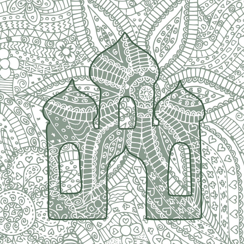 Zen tangle and doodle church. Zentangle vector temple. royalty free illustration