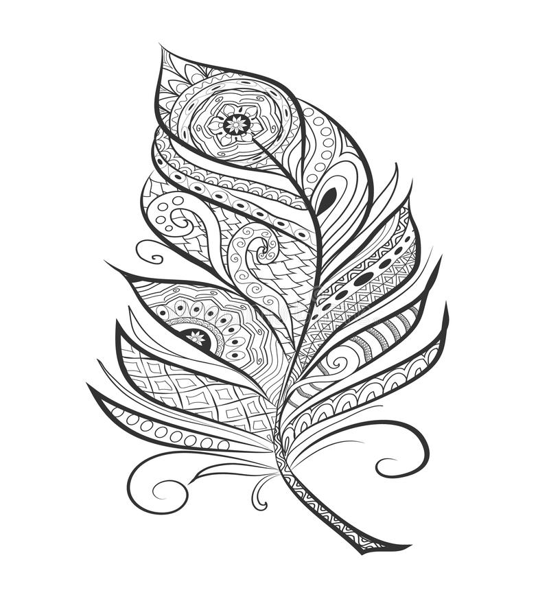 Zen tangle stylized feather for coloring page stock Zen coloring book for adults download