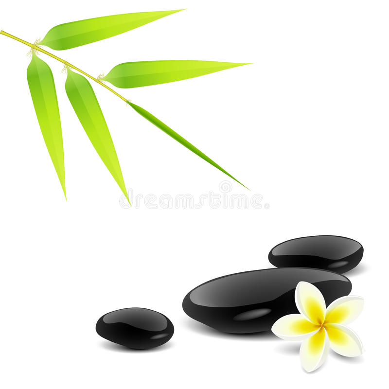 Zen theme. With bamboo and black stones