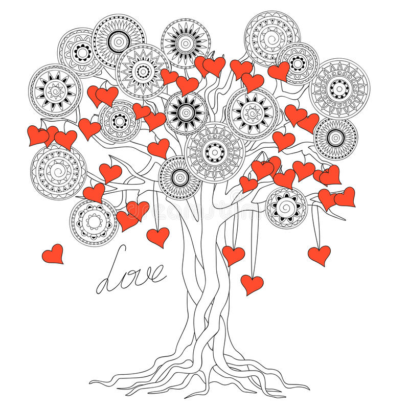 Zen tree of love with mandalas vector illustration