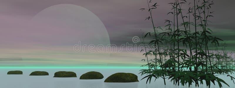 Zen verde - 3D rendem ilustração do vetor