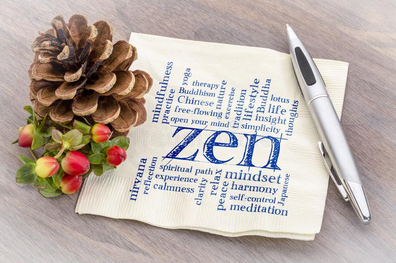 Zen word cloud on napkin. Zen word cloud - handwriting on a napkin with a pine cone stock images