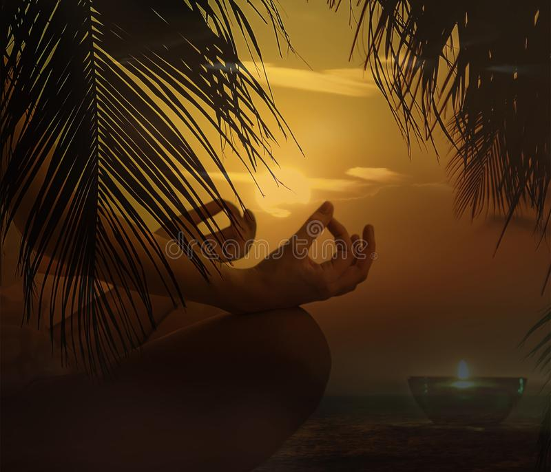 Zen yoga woman doing meditation on the beach. Wellness concept. Summer orange sunrise sky stock images