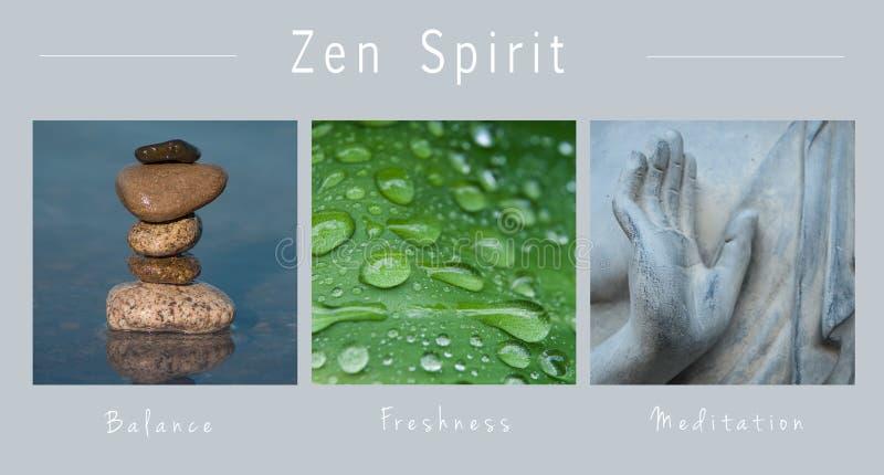 Zenande - collage med text: , Jämvikt, friskhet och meditation arkivbilder