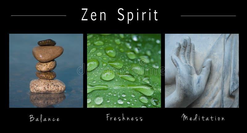 Zenande - collage med text: , Jämvikt, friskhet och meditation royaltyfria bilder