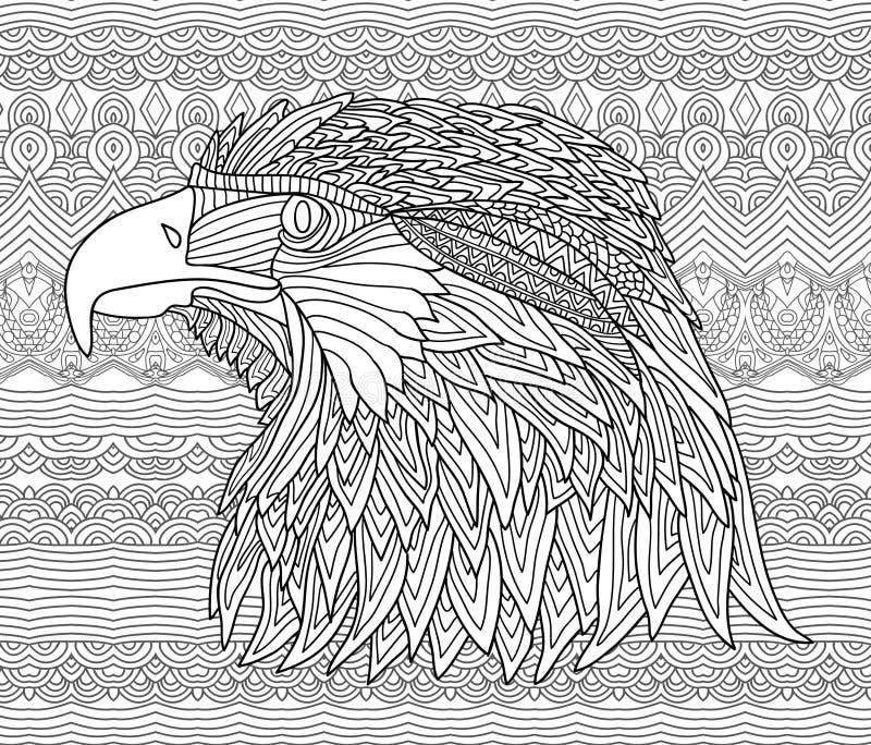 Zenart Page de livre de coloriage pour des adultes Chiffre tiré par la main d'un aigle avec des modèles illustration stock