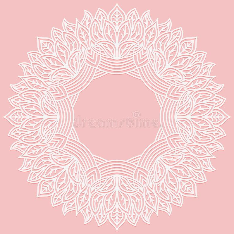 Free Zenart Round Frame With Pattern From Leaves. Lace Carved Figure On Pink Background. Pattern Suitable For Laser Cutting, Plotter Cu Stock Photos - 106734553