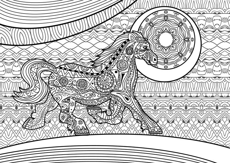 Zenart. Running horse on the pattern background. Coloring book stock illustration