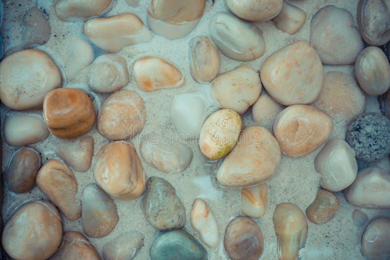Zenbakgrund, sten på havet, kiselstenar i grunt vatten Fridsamt ljust naturbegrepp royaltyfria bilder