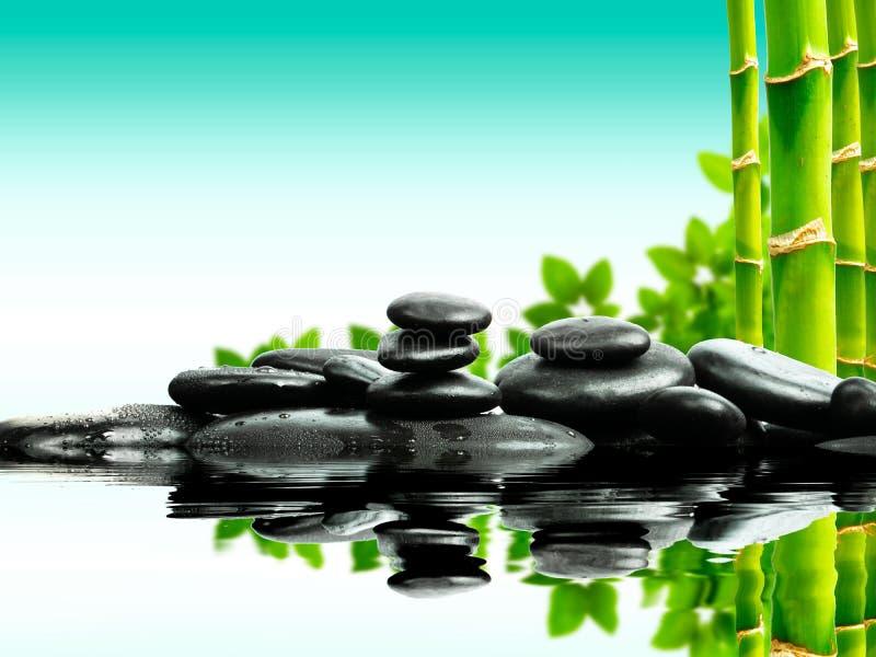 Zenbasaltstenar med grön bambu på vatten den svarta begreppsblommabrunnsorten stenar handdukwellness fotografering för bildbyråer