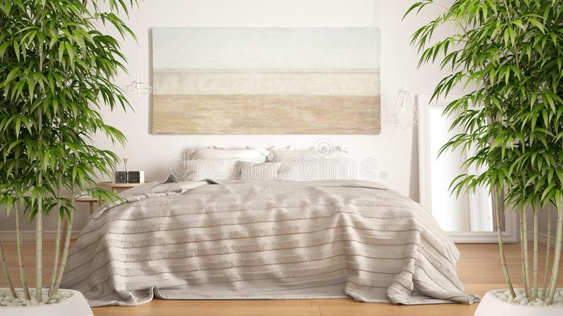 Zenbinnenland met ingemaakte bamboeinstallatie, natuurlijk binnenlands ontwerpconcept, klassieke slaapkamer, Skandinavische moder royalty-vrije stock fotografie