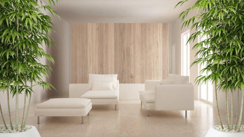 Zenbinnenland met ingemaakte bamboeinstallatie, natuurlijk binnenlands ontwerpconcept, moderne woonkamer met houten en witte deta royalty-vrije stock afbeelding