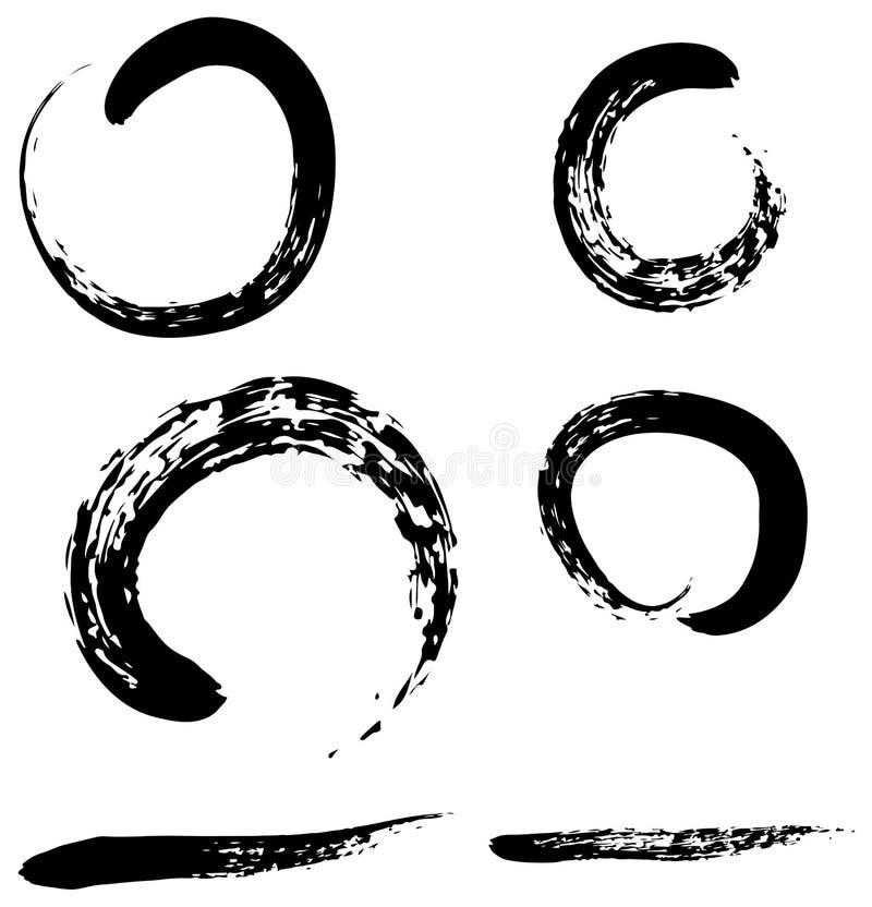 Zenborstesamling med borstelinjen för bruksillustration royaltyfri illustrationer