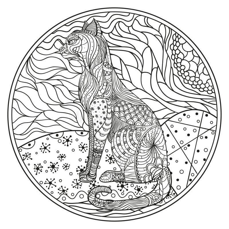 Zendala Linha arte ilustração do vetor