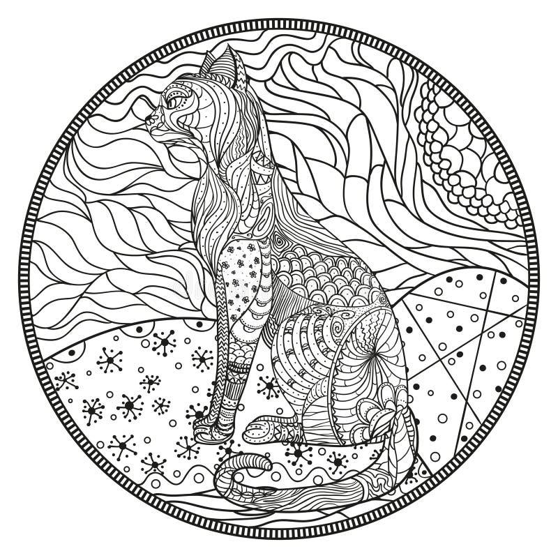 Zendala Linha arte ilustração stock