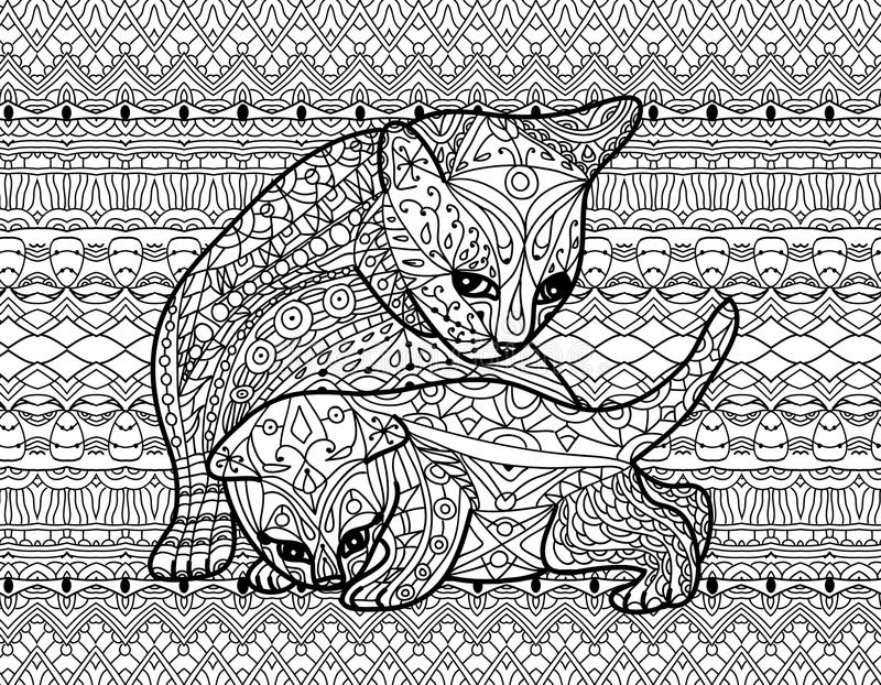 Download Zendoodle Coloring Book For Adults Mother Cat With Kitten Stock Vector